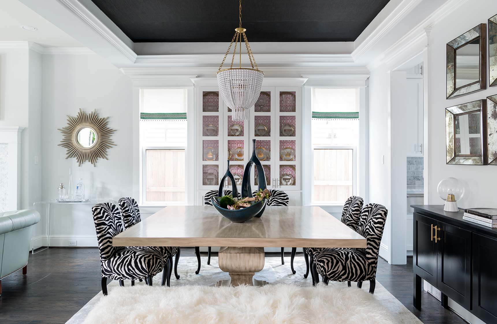 Formal Dining Room With White Shag Rug A Custom Made Table Zebra