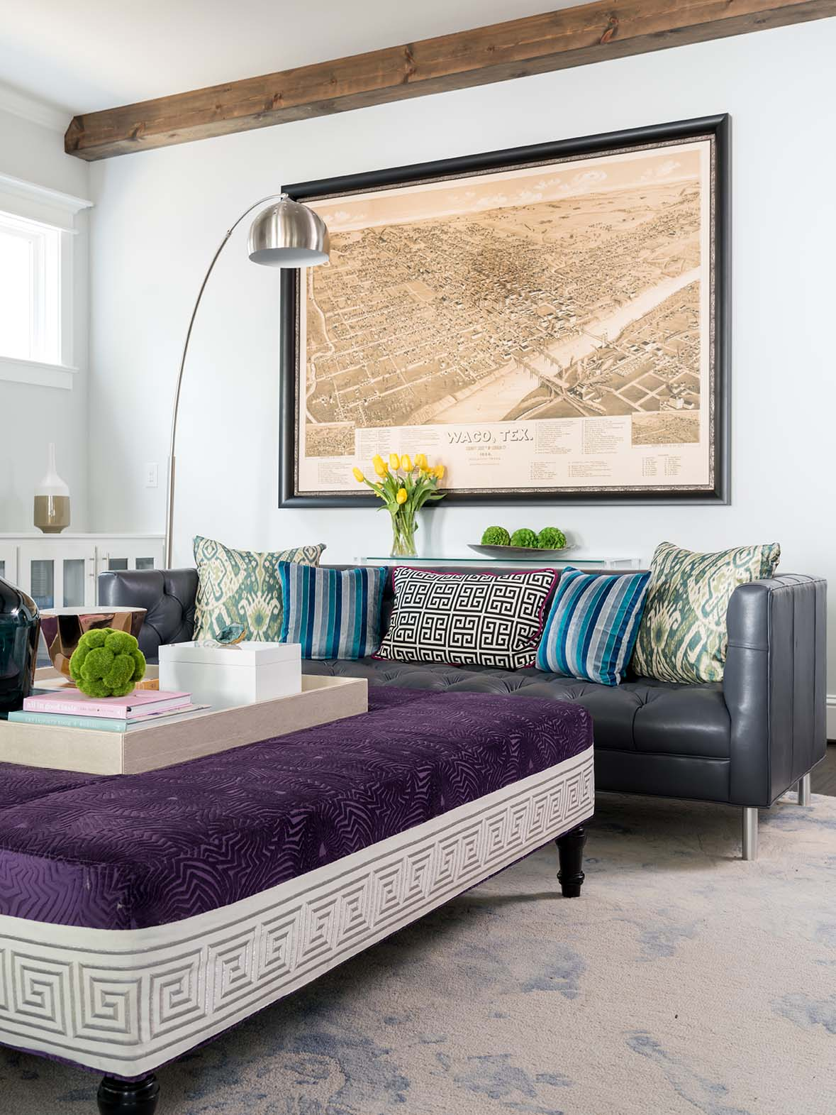 Project miller ave family room ottoman ml interiors group dallas texas michelle lynne for Texas leather interiors dallas