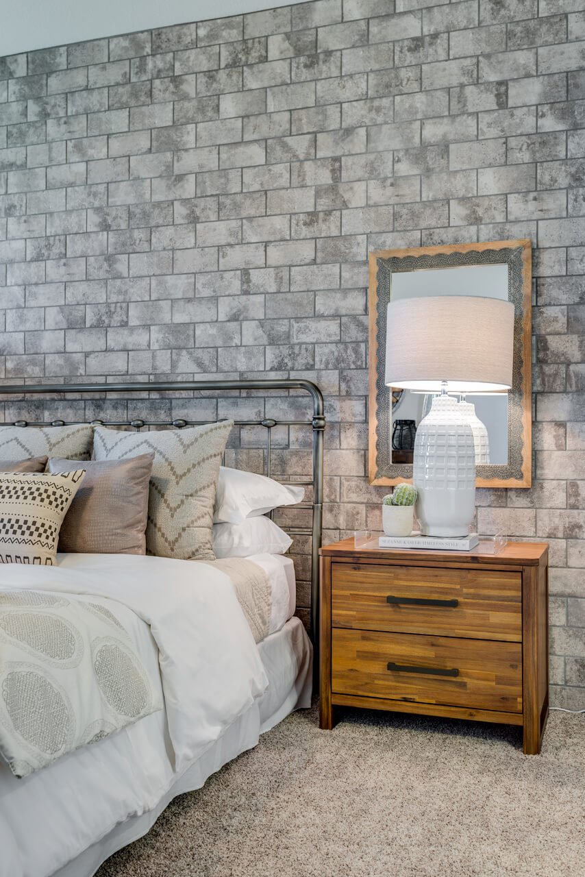 amusing brick accent wall bedroom | Project Llano Model Home Master Bedroom Room | ML ...