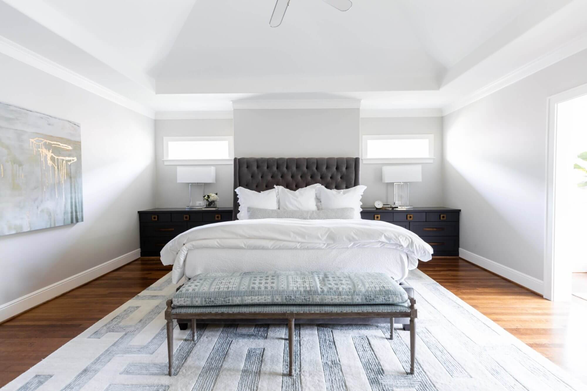 Master bedroom includes custom built-in nightstands to maximize storage | ML Interiors Group | Dallas Interior Designer