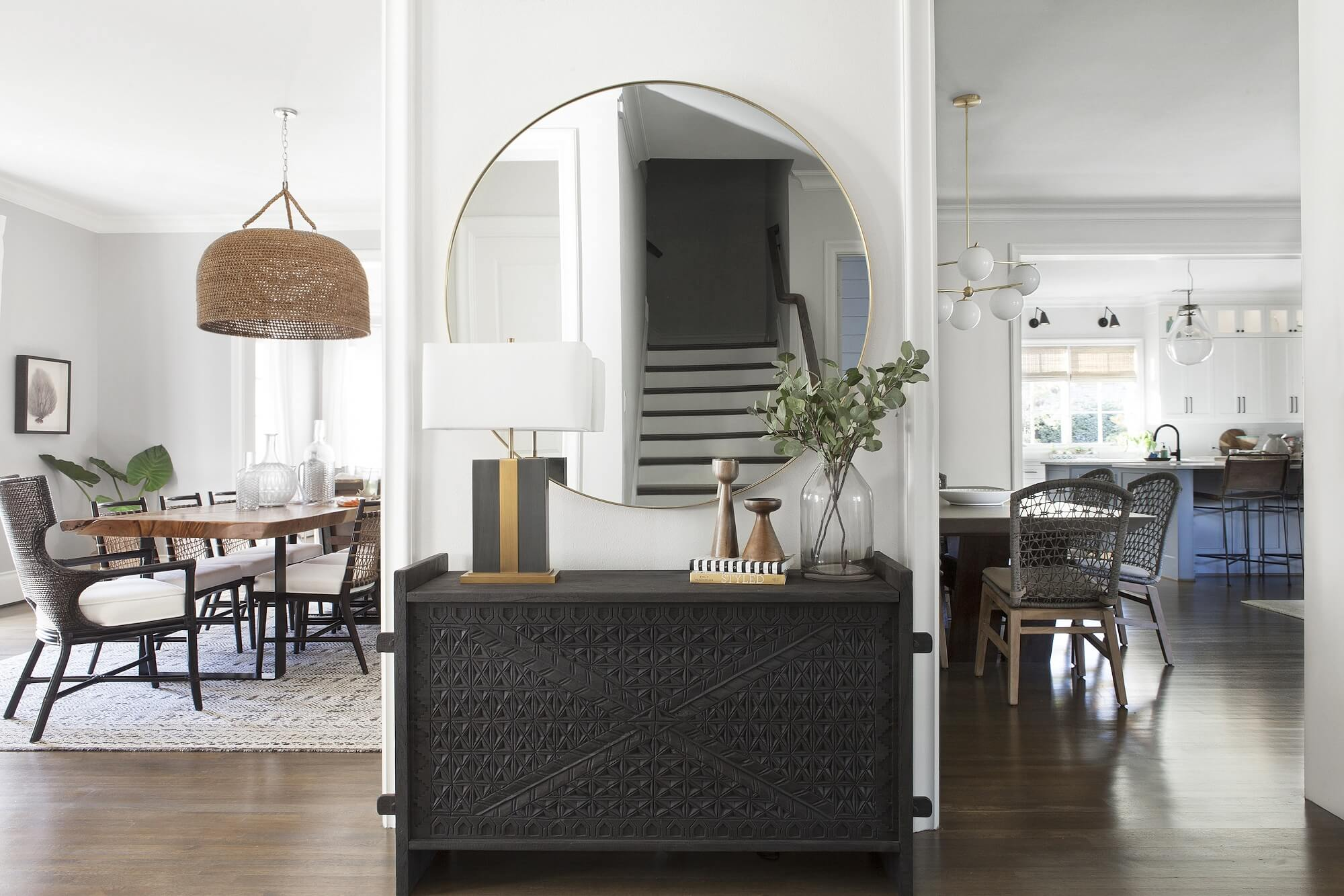 California casual design in Midway Hollow neighborhood   Dallas interior design   Entry   Dining   Kitchen design   ML Interiors Group