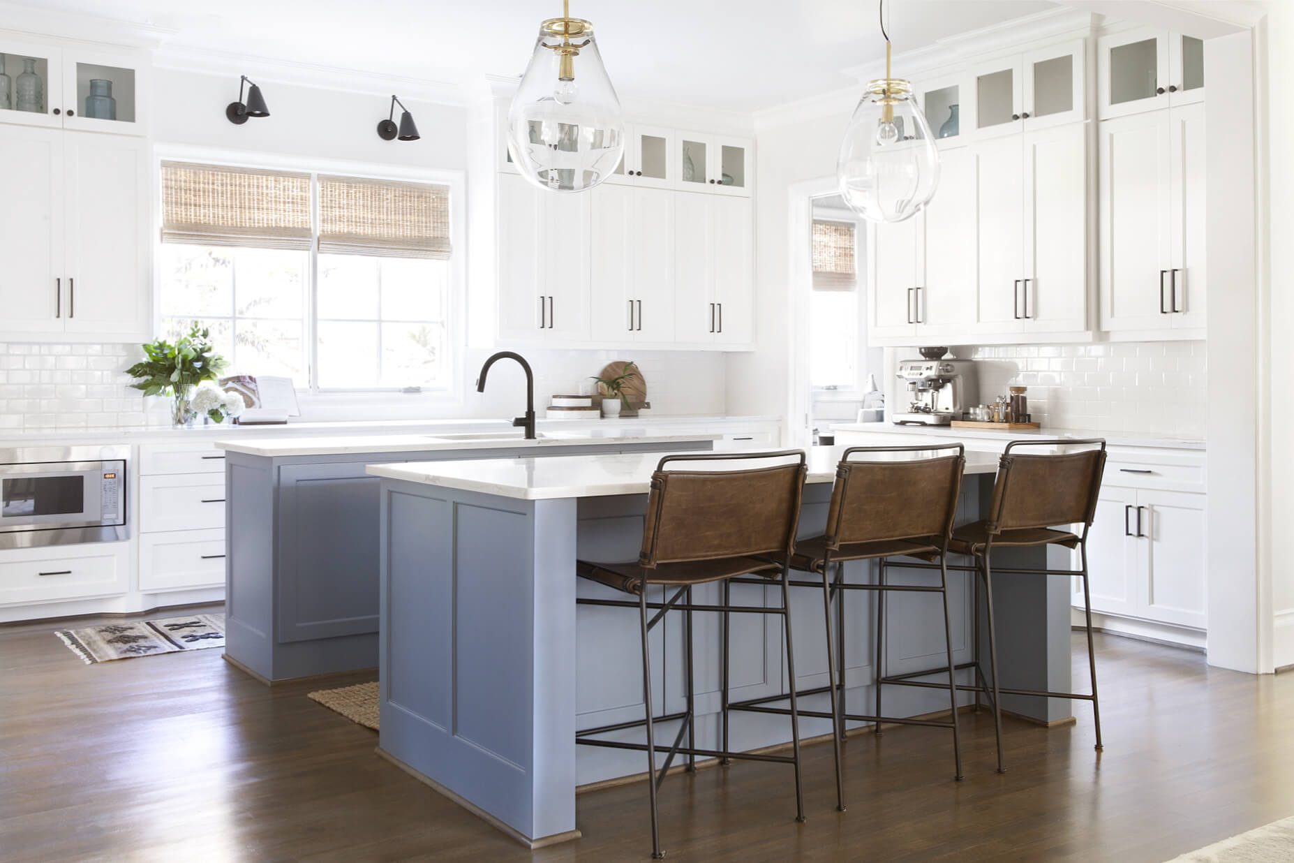 Calming colors create a soothing workspace for this busy kitchen   Dallas interior designer   ML Interiors Group   Kitchen design