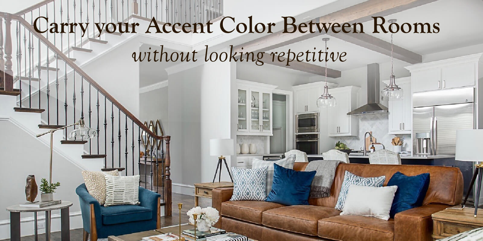 Carry your accent color between rooms without looking repetitive