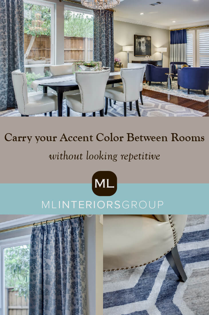 The key to using an accent color is t6o mix it up and not just get overly saturated with one color but to blend them all throughout the house. Bonus tip: It really helps bring the design together if you can find a piece of art or fabric that blends the two or three colors together!
